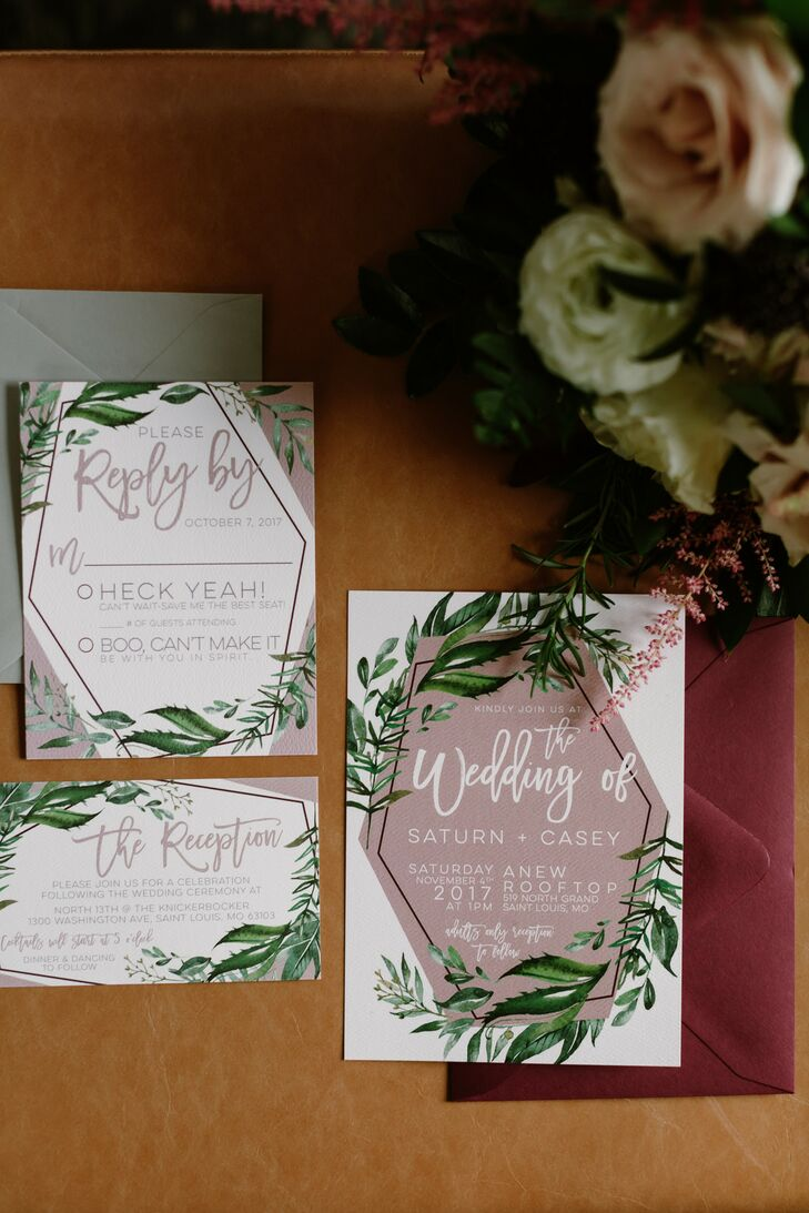 Bohemian Pink and Green Wedding Invitations with Geometric and Leaf Patterns