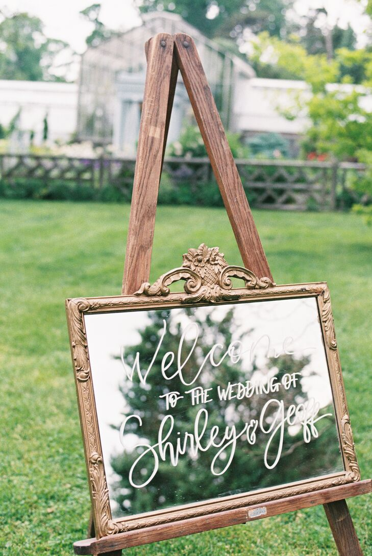 Framed Hand-Lettered Mirror Sign