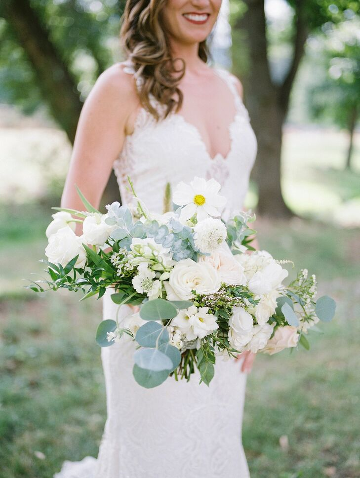 Rustic, Classic Bouquet with Eucalyptus Leaves, White Flowers and Roses