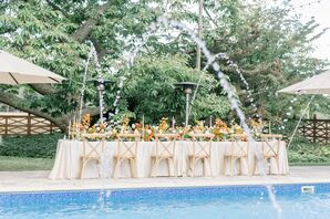 Poolside Reception Table at Cypress House in New Columbia, Pennsylvania