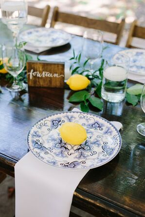 Classic Place Setting with Chinoiserie Charger and Lemons