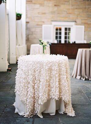 Ivory Feather Linen Over Cocktail Table