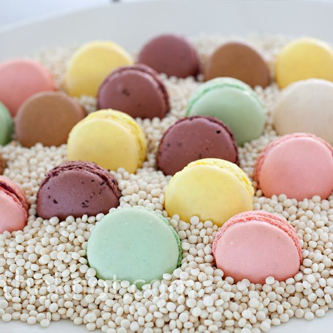 In addition to an array of pie flavors, pastel-colored macaroons nestled on Israeli couscous, evoking the look of sand.