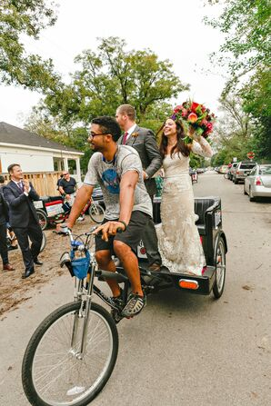 Bohemian Couple Making Pedicab Entrance