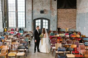Industrial Warehouse with Electric Mismatched Ceremony Chairs