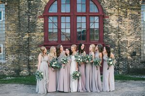Bridesmaids in Taupe Gowns