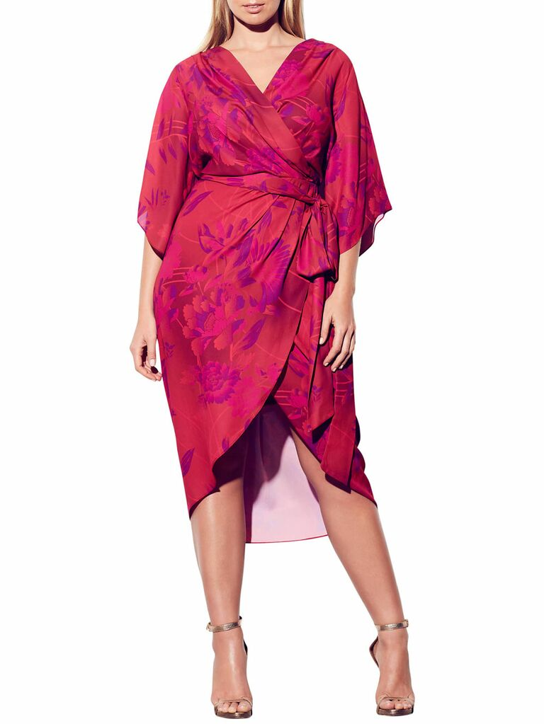 Pink floral plus size wedding guest dress