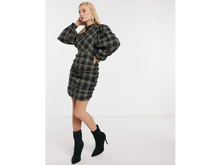 Plaid mini dress with long puff sleeves and high neck
