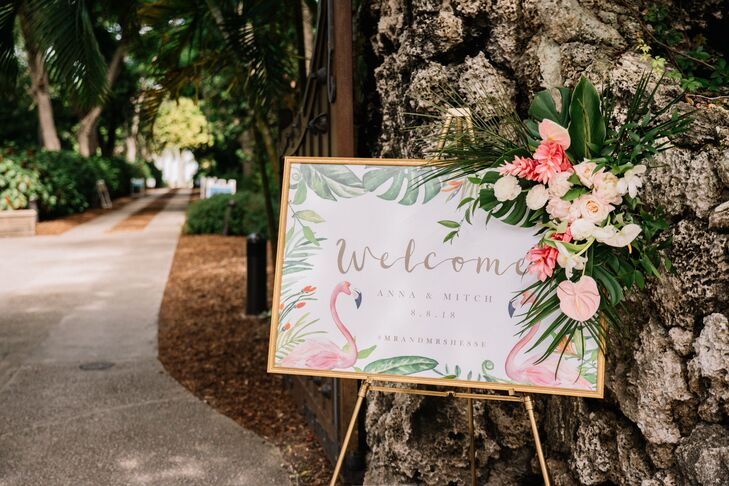 Tropical Welcome Sign with Flamingos and Monstera Leaves