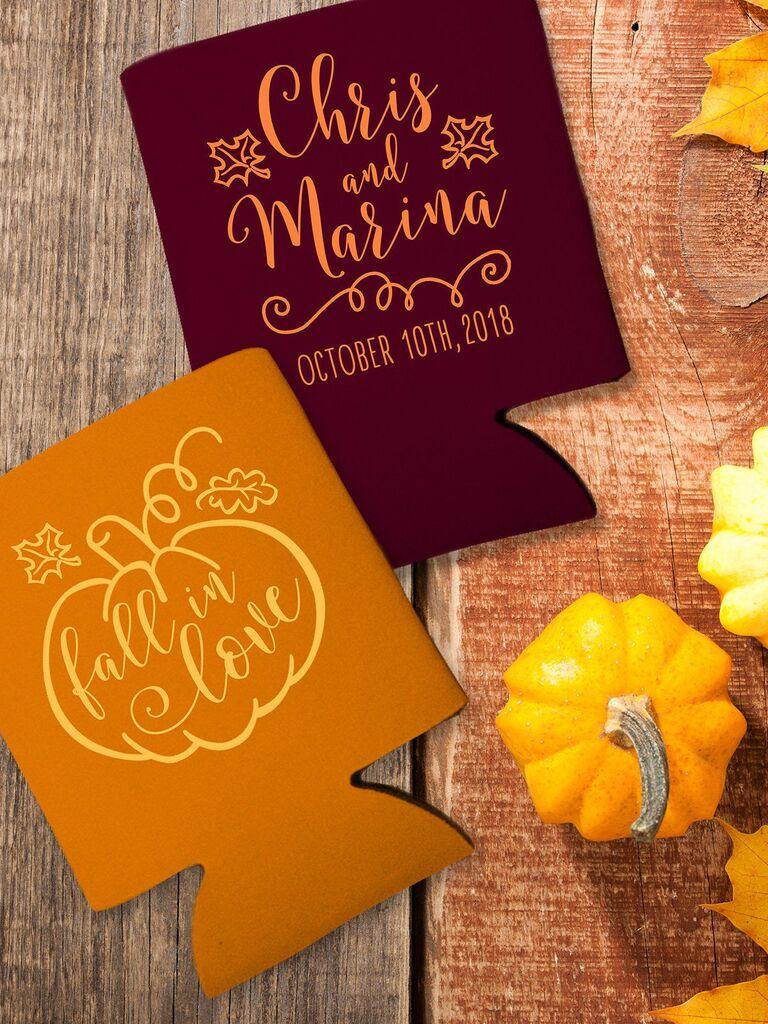 Pumpkin koozie fall wedding favor