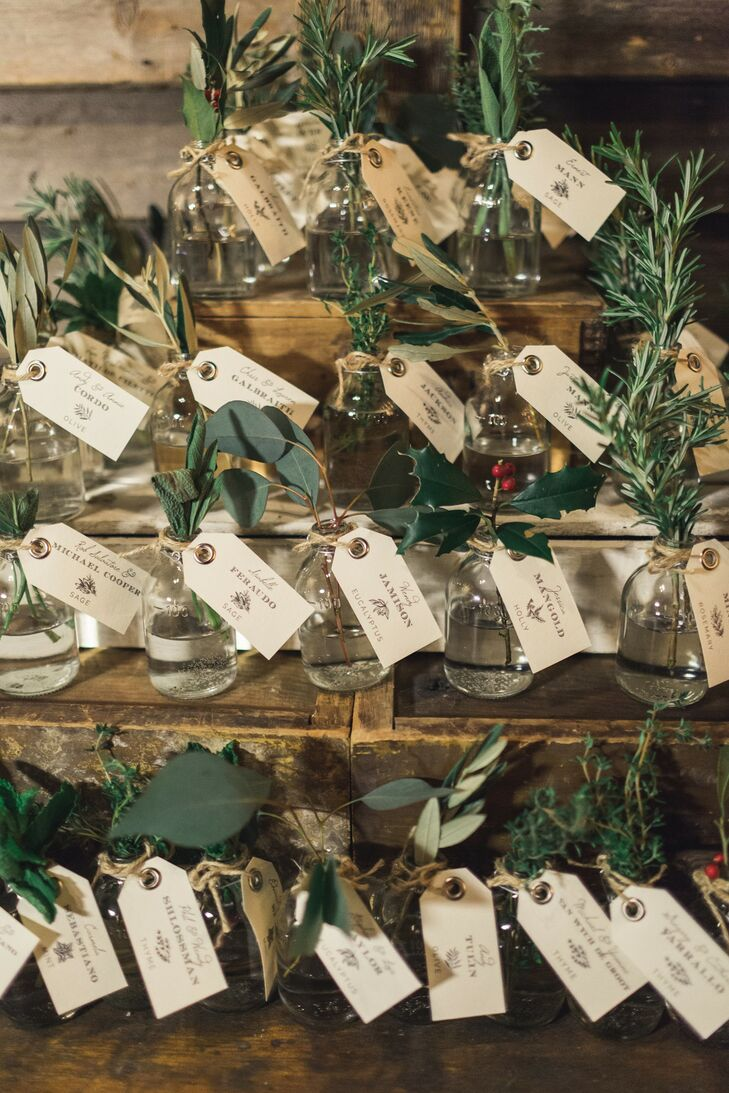Wintry Escort Cards for Christmas Wedding at Terrain at Styers in Glen Mills, Pennsylvania