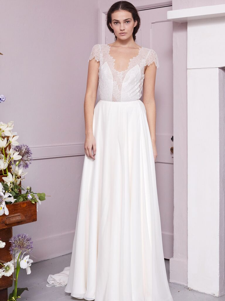 Halfpenny London 2020 Bridal Collection A-line wedding dress with sheer lace cap sleeve bodice