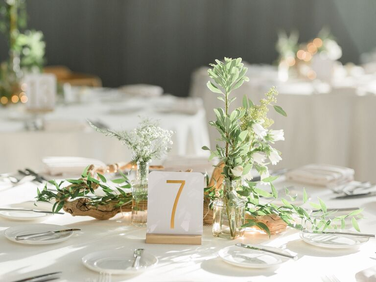 Wedding Centerpieces Greens and Baby's Breath