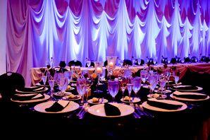 Purple Lighting and Black Tablecloths