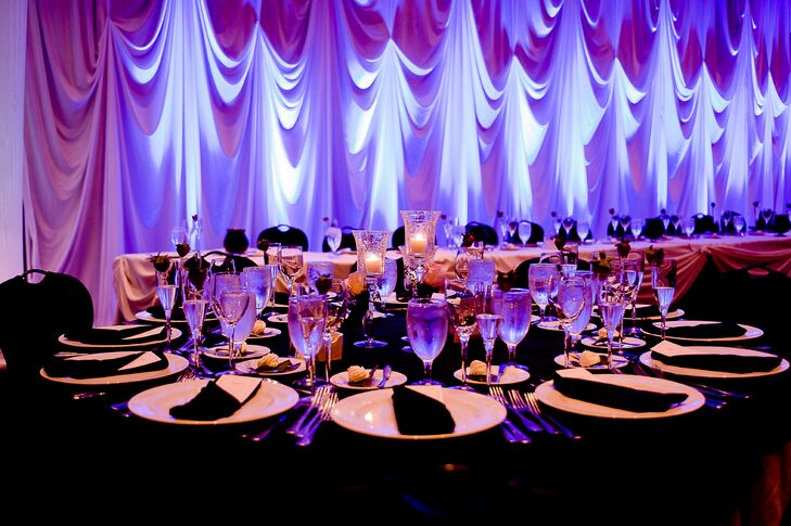 Purple Lighting and Black Tablecloths