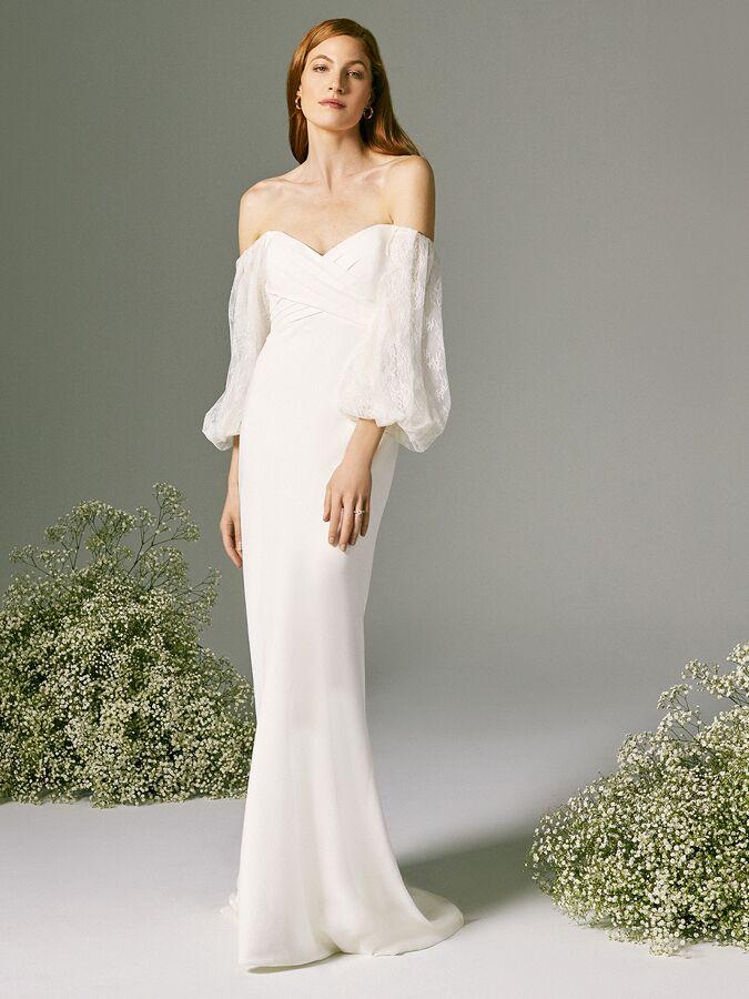Savannah Miller strapless wedding dress with cold shoulder sleeves