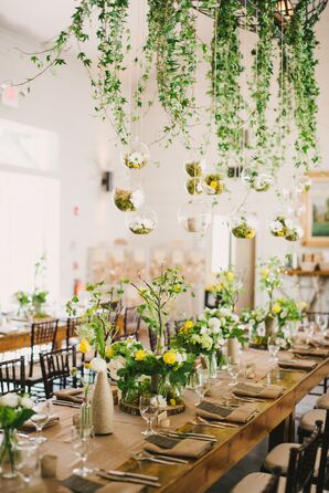 Whimsical Suspended Moss and Ivy Centerpiece