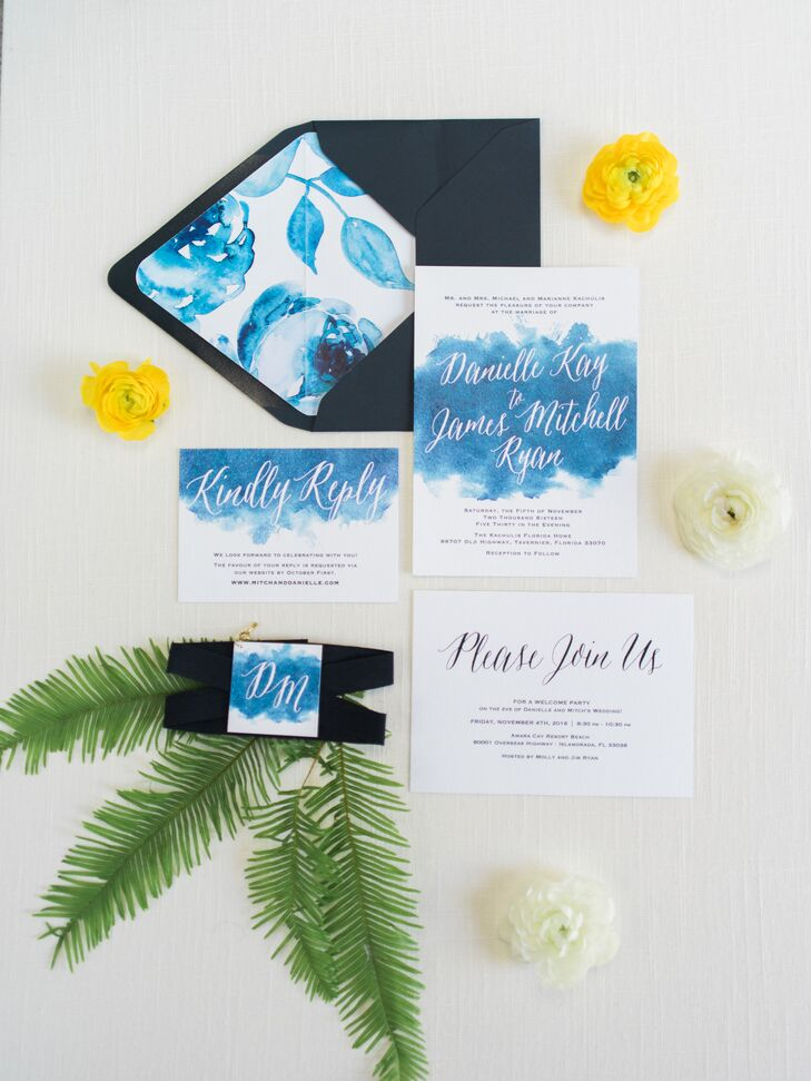 Blue and White Watercolor Custom Wedding Invitation