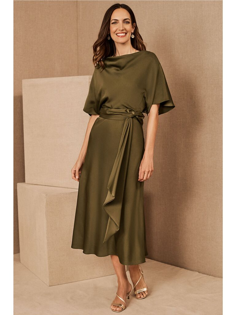 Olive midi dress with draped top and belted waist