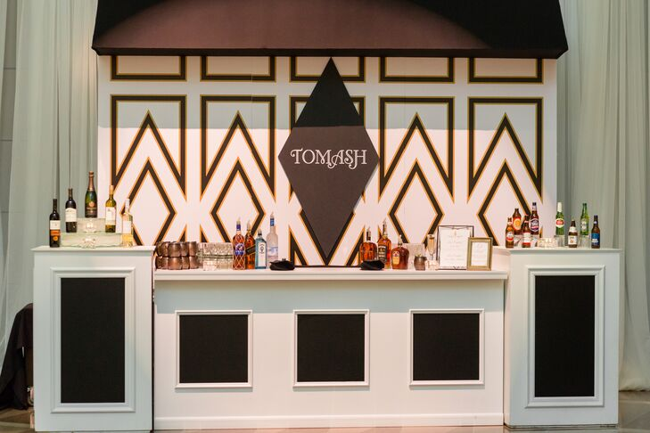 Modern Bar Setup with Art Deco Design and Personalized Sign