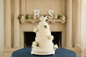 Ivory Wedding Cake With Scroll Piping