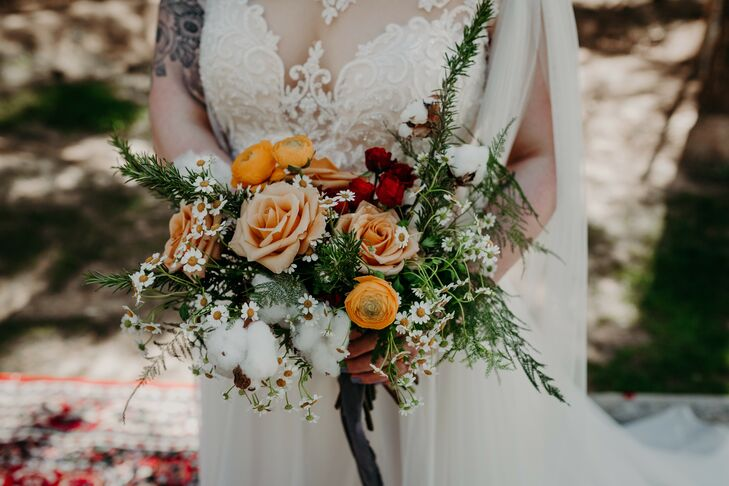 Whimsical Bouquet of Roses, Chamomile, Cotton and Rosemary