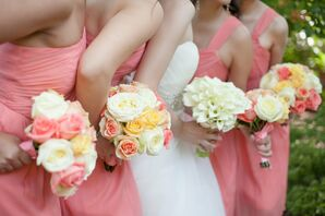 Coral and Pastel Rose Bouquets
