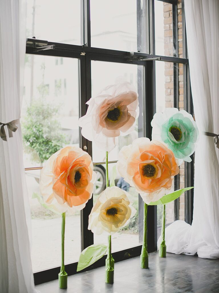 Life-size paper flower decorations
