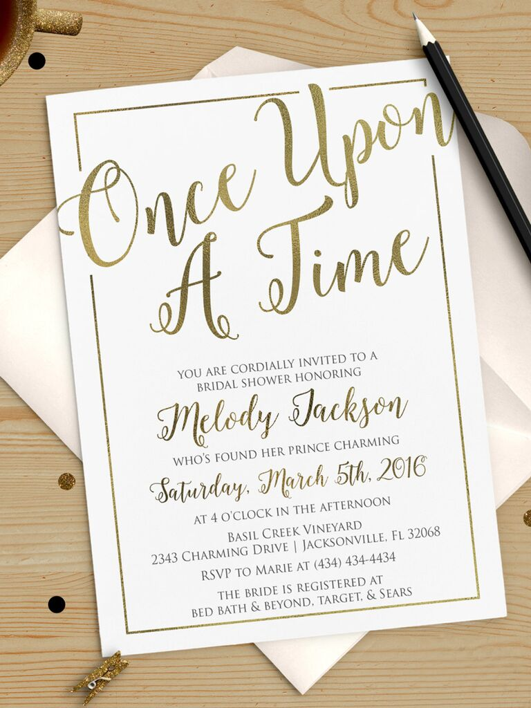 once upon a time bridal shower invitation printable diy