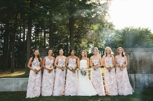 Whimsical, Romantic Floral-Patterned Bridesmaid Dresses