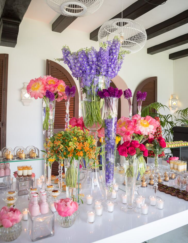Colorful Floral Dessert Table Display