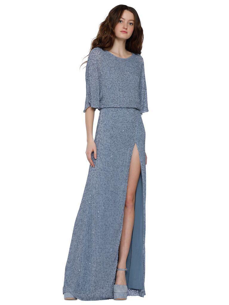 Alice + Olivia Arora embellished cape-sleeve gown