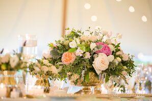Short Gold Mercury Vases with Blush Flowers