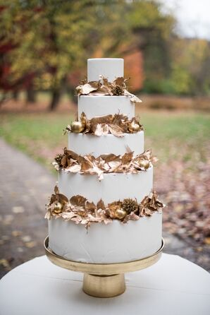 Autumnal Gold Leaf Wedding Cake
