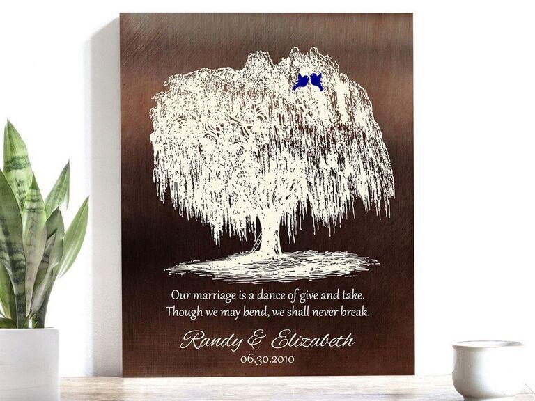 Lucky Tusk 9th wedding anniversary willow tree art