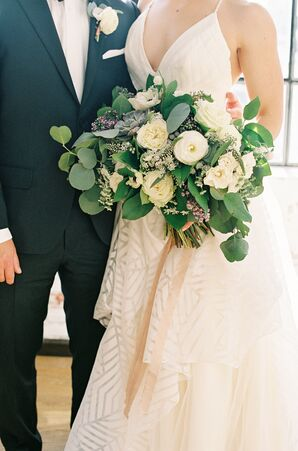 Ivory Lisianthus and Cabbage Rose Bouquet with Oversize Greenery