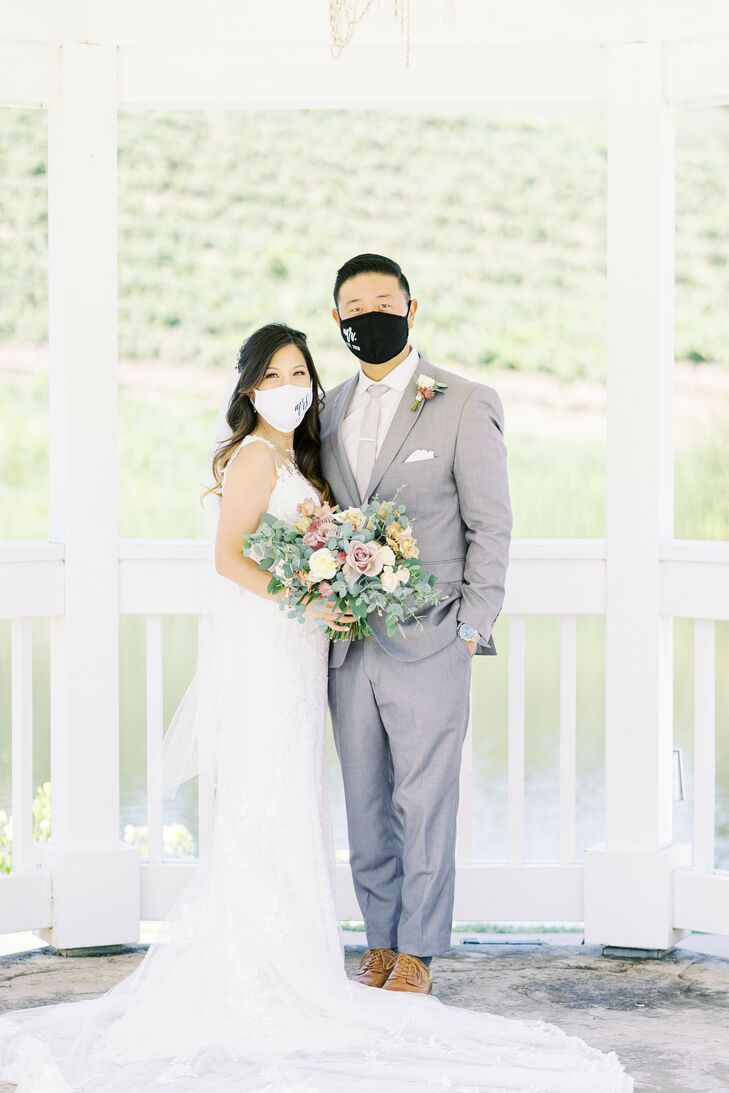 Couple Wearing Masks During Wedding at Leal Vineyards in Hollister,  California
