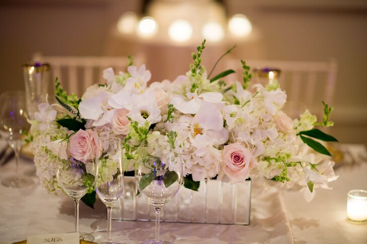 Mirrored Orchid, Roses and Hydrangea Centerpieces