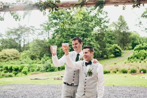 Grooms in Gray Vests and Pants