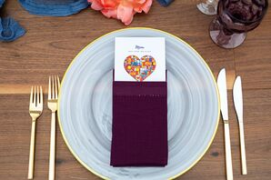 Place Setting with Purple Napkin, Custom Menu and Gold Flatware