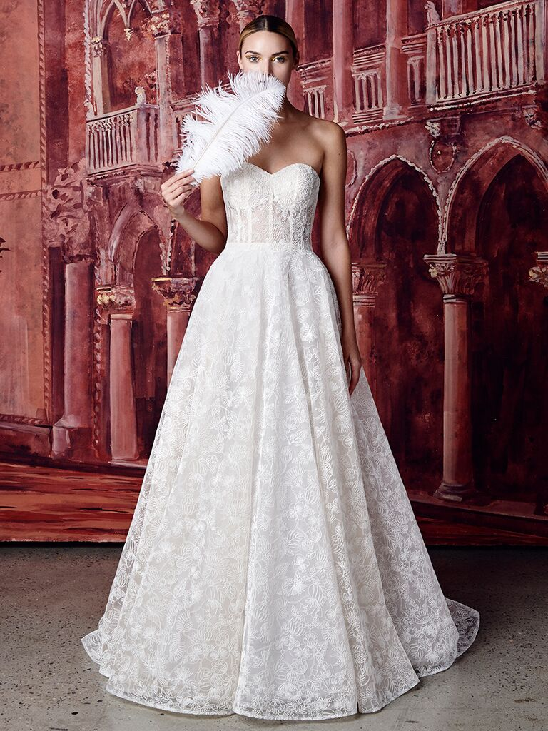 Isabelle Armstrong strapless ballgown with sweetheart neckline and embroidery