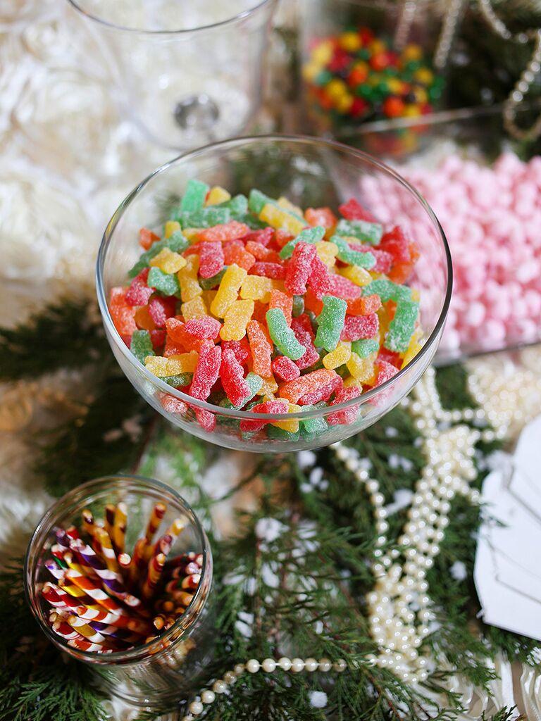 Candy station wedding dessert idea