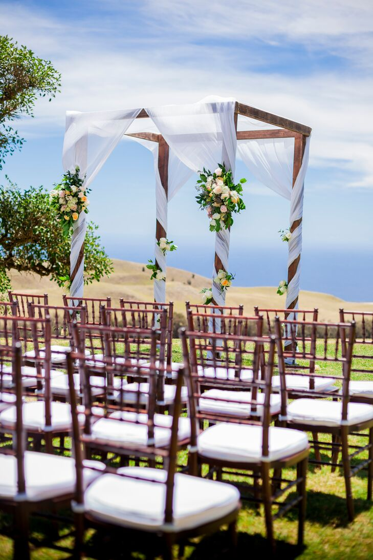 Wedding Arch with Drapery and Flowers