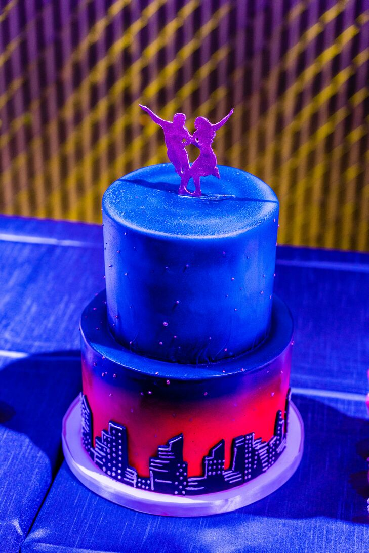 Blue and Red Dance-Themed Wedding Cake with Purple Topper