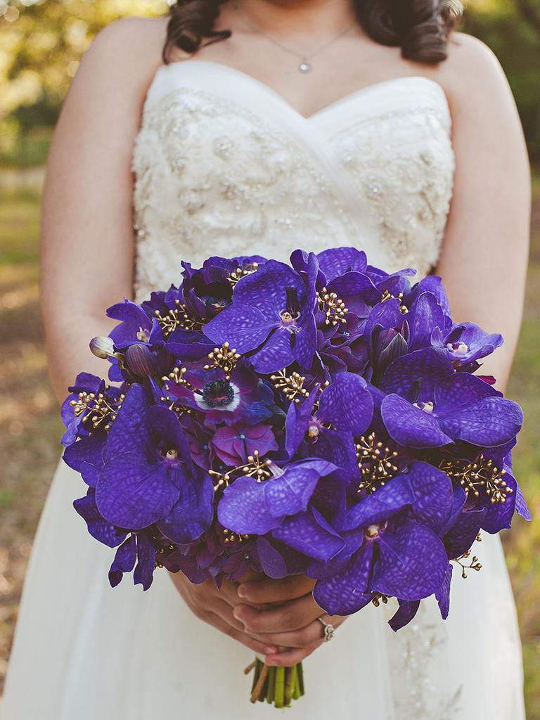 orchid wedding bouquet purple