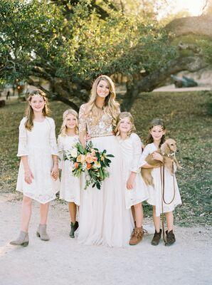 Flower Girls in Lace Dresses and Gold Leaf Crowns