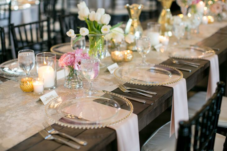 Gold Beaded Dinnerware and Rustic Farm Tables