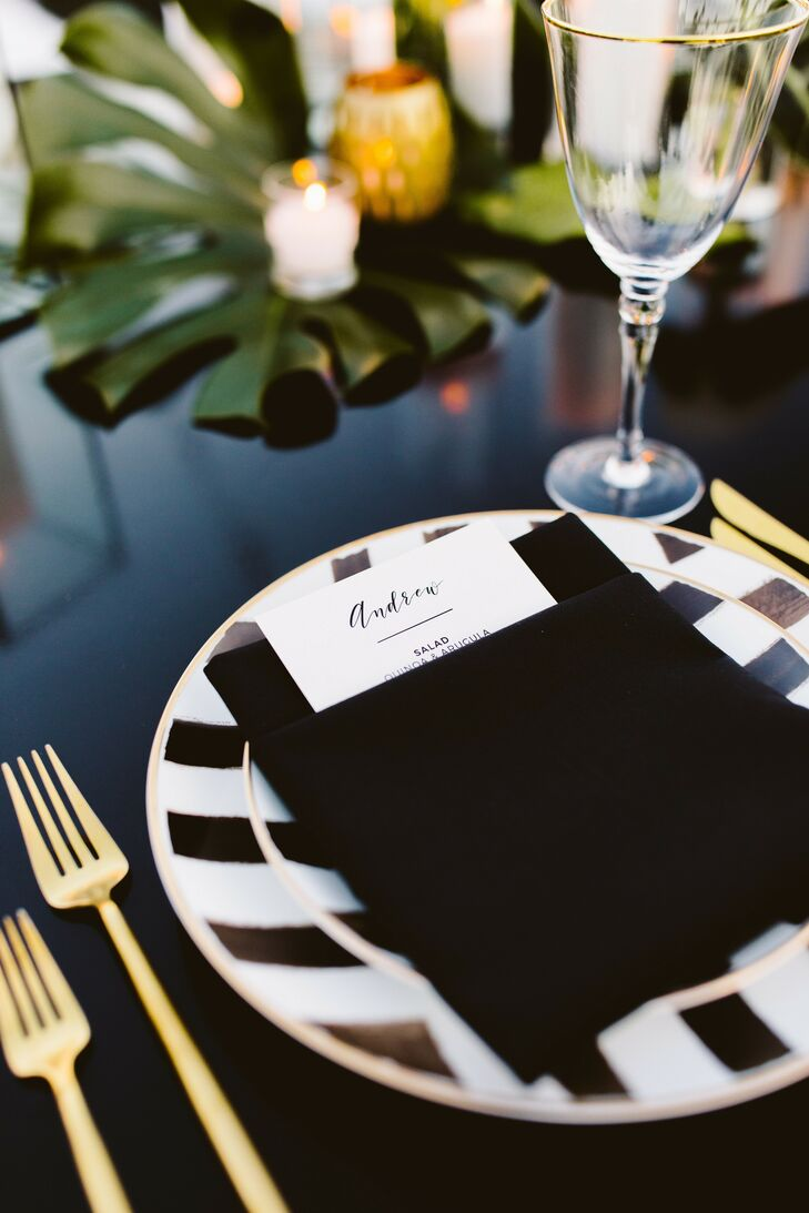 Black-and-Gold Place Setting at Palm Springs Wedding
