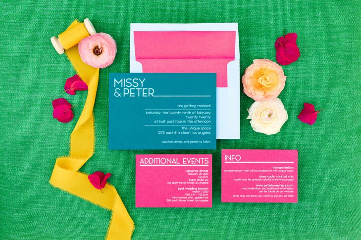 Neon Invitations for Wedding at the Unique Space in Los Angeles, California