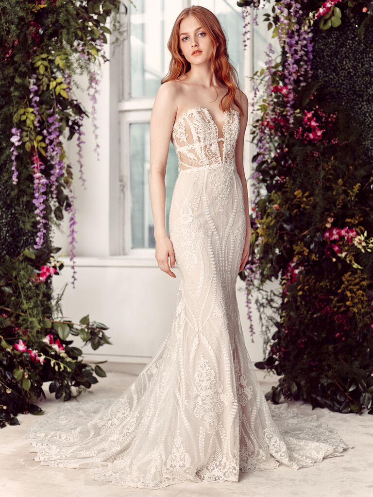 Alyne by Rita Vinieris Spring/Summer 2020 Bridal Collection strapless fitted embroidered wedding dress